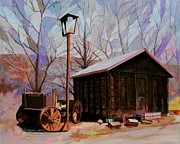 Old Shed Prints - Old Shed and Wagon Print by Shirl Theis