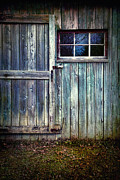Grungy Photo Prints - Old shed door with spooky shadow in window Print by Sandra Cunningham