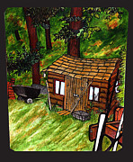 Mix Medium Mixed Media Framed Prints - Old Shed Shed Framed Print by Ryan Lee