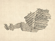 Old Sheet Music Map Of Austria Map Print by Michael Tompsett