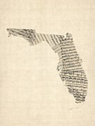 Old Sheet Music Map Of Florida Print by Michael Tompsett