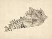 Old Sheet Music Map Of Kentucky Print by Michael Tompsett