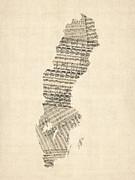 Old Sheet Music Map Of Sweden Print by Michael Tompsett