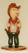 Wood Carving Sculpture Prints - Old Sheriff Print by Russell Ellingsworth
