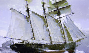 Historic Schooner Originals - Old ship sailing  by Tommy Hammarsten