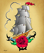 Geek Posters - Old Ship Tattoo  Poster by Mark Ashkenazi
