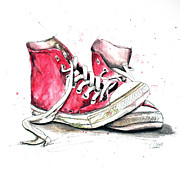 Converse Paintings - Old Shoes 2 by Astrid Rieger
