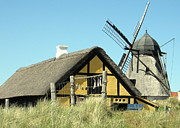 Skagen Posters - Old Skagen house and windmill Poster by Konni Jensen