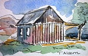 Australia Prints - Old Slab Hut - original SOLD Print by Therese Alcorn