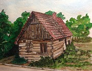 Old House Drawings - Old Slovania Home by Brenda Mayall