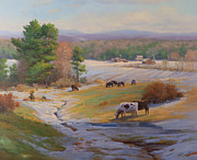 Adirondack Park Art - Old Snow and Cows by Marianne  Kuhn