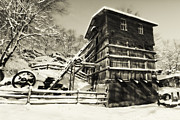 Snow Covered Village Posters - Old Snow Covered Quarry Mill Poster by George Oze