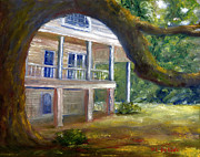 Southern Plantation Paintings - Old Southern Louisiana Mansion Plantation by Lenora  De Lude