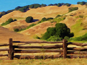 Split Rail Fence Painting Prints - Old Split Rail Fence Print by Michael Pickett