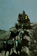 Remington Metal Prints - Old Stage coach of the Plains Metal Print by Frederick Remington