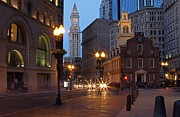 Skyscraper Photographs Photos - Old State House and Custom House in Boston by Juergen Roth