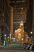 Business-travel Framed Prints - Old State House by Night Framed Print by Joann Vitali