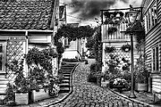 Scandinavian Prints - Old Stavanger Part I Print by Erik Brede