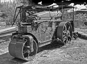 Old Caboose Framed Prints - Old Steam Roller - black and white Framed Print by Gregory Dyer