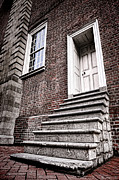 Brick Prints - Old Steps and Door Print by Olivier Le Queinec