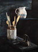 Old Pitcher Painting Prints - Old Still Life Print by Masha Batkova