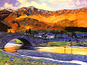 Scotland Paintings - Old Stone Bridge by  David Lloyd Glover