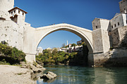 Mostar Framed Prints - Old Stone Bridge In Mostar Bosnia Framed Print by Jacek Malipan