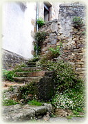 Charming Cottage Prints - Old Stone Steps Print by Carla Parris