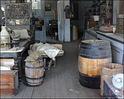 Bottles Of Paint Prints - Old Store Barrels Print by Lydia Warner Miller