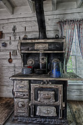 Antique Wood Burning Stove Prints - Old Stove Print by Darcy Michaelchuk