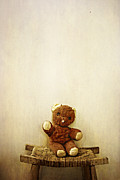 Button Nose Prints - Old Teddy Bear Sitting on Stool Print by Birgit Tyrrell