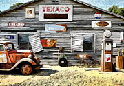 White Walls Framed Prints - Old Texaco Framed Print by Steve McKinzie