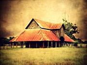 Painted Wood Prints - Old Texas Barn Print by Julie Hamilton