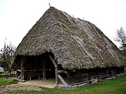 Shed Digital Art Originals - Old Thatched Farm Building by Laszlo Slezak