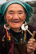 Tibetan Buddhism Posters - Old Tibetan Woman Poster by James Wheeler