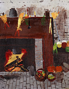 Fire Time Paintings - Old time Fire Place by Swabby Soileau