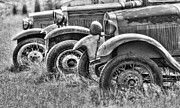 Old Trucks Photo Metal Prints - Old Timers BW Metal Print by David  Naman