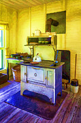 Wooden Paneling Prints - Old Timey Stove Colorized Print by Lynn Palmer