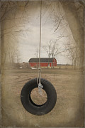 Barn Yard Mixed Media Prints - Old Tire Swing Print by Maria Dryfhout