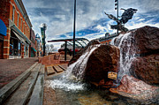 Fort Collins Digital Art Metal Prints - Old Town Fountain Metal Print by JulieannaD Photography