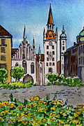 Watercolor By Irina Posters - Old Town Hall Munich Germany Poster by Irina Sztukowski
