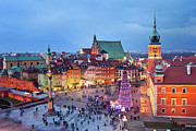 Christmas Holiday Scenery Art - Old Town in Warsaw at Evening by Artur Bogacki