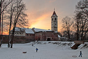 Winter Landscapes Posters - Old town in winter Poster by Davorin Mance