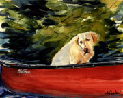 Yellow Labrador Retriever Paintings - Old Town by Molly Poole