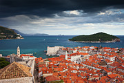 Tiled Framed Prints - Old Town of Dubrovnik and Lokrum Island Framed Print by Artur Bogacki