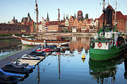 Port Town Framed Prints - Old Town of Gdansk Skyline and Marina Framed Print by Artur Bogacki