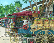 Barrel Painting Originals - Old Town San Diego Market by Shalece Elynne