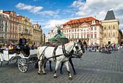Drawn Framed Prints - Old town square and horse-drawn carriage in beautiful Prague Framed Print by Matthias Hauser