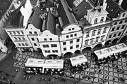 Old Town Square Framed Prints - Old town square in Prague in black and white Framed Print by Matthias Hauser