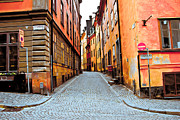 Stockholm Framed Prints - Old Town streets Framed Print by Damion Lawrence